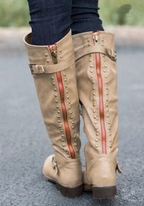Khaki Round Toe Rivet Zipper Fashion Knee-High Boots