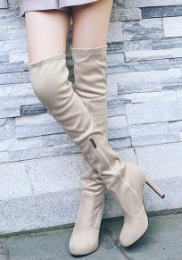 Apricot Round Toe Stiletto Zipper Casual Over-The-Knee Boots