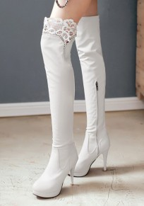 White Round Toe Stiletto Lace Stitching Fashion Over-The-Knee Boots