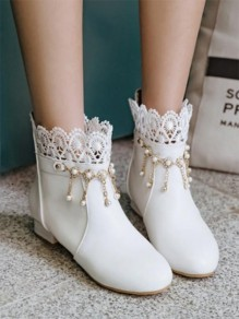 White Round Toe Chunky Pearl Chain Fashion Ankle Boots