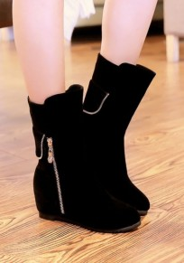 Black Round Toe Within The Higher Zipper Fashion Ankle Boots