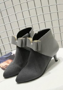 Grey Point Toe Stiletto Bow Fashion Ankle Boots