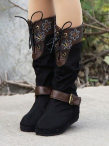 Black Round Toe Within The Higher Embroidery Fashion Mid-Calf Boots