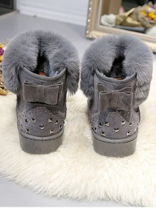 Grey Round Toe Flat Rhinestone Casual Ankle Boots