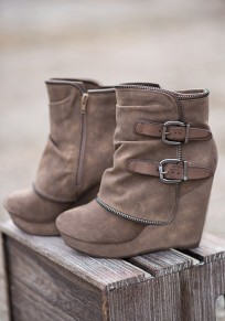 Khaki Round Toe Wedges Double Buckle Fashion Ankle Boots
