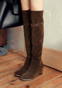 Dark Brown Round Toe Within The Higher Rivet Fashion Over-The-Knee Boots