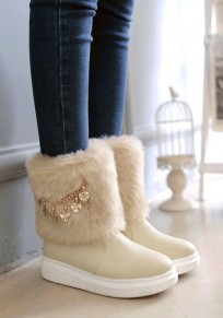 Beige Round Toe Flat Chain Fashion Ankle Boots