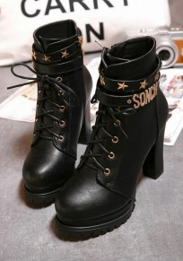 Black Round Toe Chunky Mental Decoration Fashion Ankle Boots