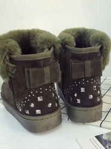 Army Green Round Toe Rivet Bow Sweet Ankle Boots