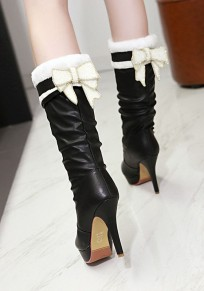 Black Round Toe Stiletto Bow Fashion Mid-Calf Boots