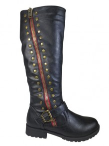 Black Round Toe Chunky Double Zipper Rivet PU Leather Fashion School Mid-Calf Boots