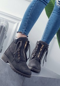 Dark Grey Round Toe Chunky Zipper Fashion Ankle Boots