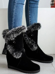 Black Round Toe Within The Higher Casual Mid-Calf Boots