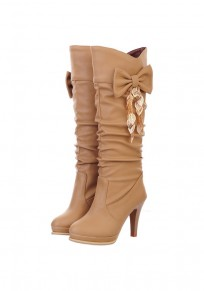 Apricot Round Toe Chunky Bow Fashion Knee-High Boots