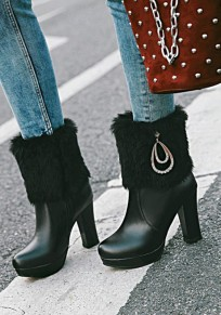 Black Round Toe Chunky Metal Decoration Fashion Ankle Boots