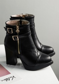 Black Point Toe Chunky Buckle Fashion Ankle Boots