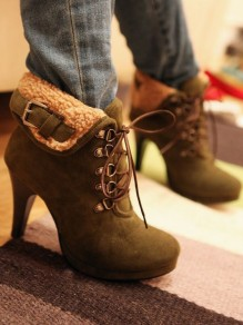 Green Round Toe Chunky Buckle Fashion Ankle Boots