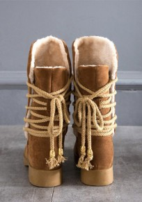 Brown Round Toe Chunky Lace-up Fashion Mid-Calf Boots