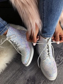 White Round Toe Low Heeled Lace-up Sequin Glitter Sparkly Casual School Ankle Boots