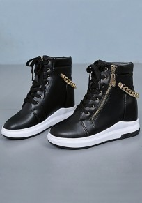 Black Round Toe Within The Higher Chain Fashion Ankle Boots