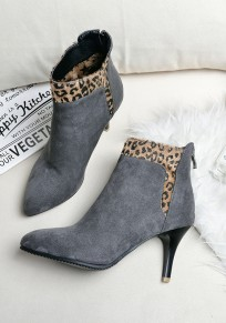 Grey Point Toe Stiletto Leopard Print Fashion Ankle Boots
