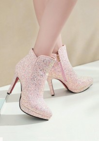 Pink Point Toe Stiletto Sequin Fashion Ankle Boots