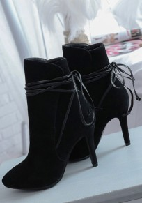 Black Point Toe Stiletto Lace-up Fashion Ankle Boots