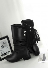 Black Round Toe Chunky Lace Fashion Mid-Calf Boots