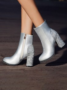 Silver Round Toe Chunky Sequin Fashion Ankle Boots