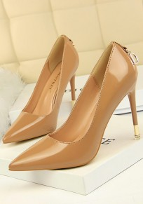 Beige Point Toe Stiletto Metal Decoration Fashion High-Heeled Shoes