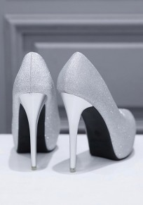 Silver Round Toe Stiletto Sequin Fashion High-Heeled Shoes