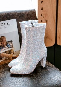 White Point Toe Chunky Sequin Fashion Mid-Calf Boots