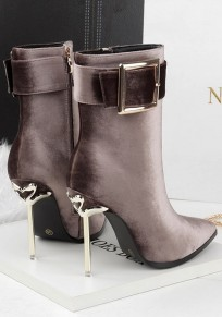 Brown Point Toe Stiletto Buckle Fashion Ankle Boots
