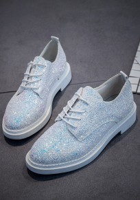 White Round Toe Flat Sequin Fashion Ankle Shoes
