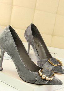 Grey Point Toe Pearl Stiletto Fashion High-Heeled Shoes