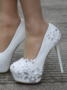 White Round Toe Stiletto Rhinestone Pearl Fashion High-Heeled Shoes