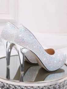White Round Toe Stiletto Sequin Fashion High-Heeled Shoes