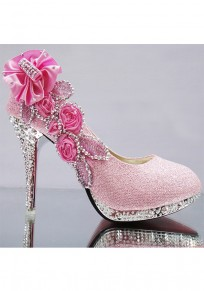 Pink Round Toe Stiletto Rhinestone Fashion High-Heeled Shoes