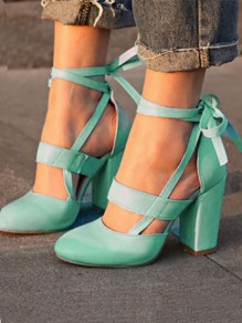 Blue Round Toe Chunky Fashion High-Heeled Sandals