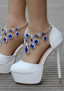 Blue Round Toe Stiletto Tassel Rhinestone Fashion High-Heeled Shoes