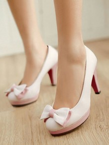White Round Toe Bow Sweet High-Heeled Shoes
