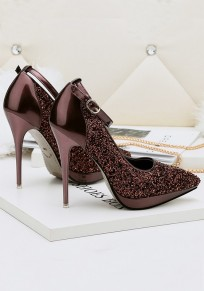 Brown Point Toe Stiletto Sequin Buckle Fashion High-Heeled Shoes