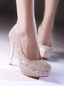 Golden Round Toe Stiletto Sequin Fashion High-Heeled Shoes