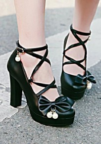 Black Round Toe Chunky Cross Strap Bow Pearl Fashion Pumps