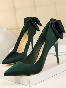 Green Point Toe Stiletto Bow Fashion High-Heeled Shoes