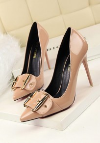 Camel Point Toe Stiletto Metal Decoration Fashion High-Heeled Shoes