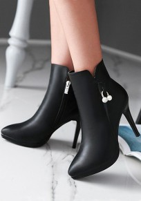 Black Point Toe Stiletto Pearl Fashion Ankle Boots