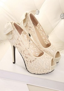 Apricot Round Toe Stiletto Lace Bow Fashion High-Heeled Sandals