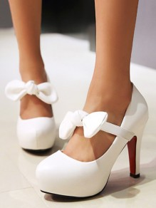 White Round Toe Bow Fashion High-Heeled Shoes