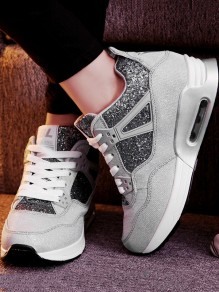 Grey Round Toe Flat Lace-up Sequin Casual Ankle Shoes